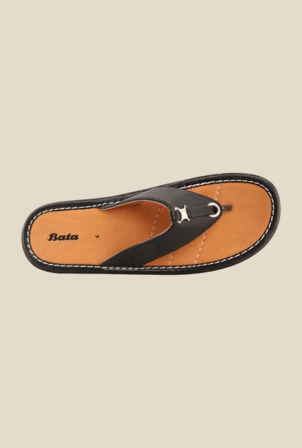 Bata Palm Black Thong Sandals