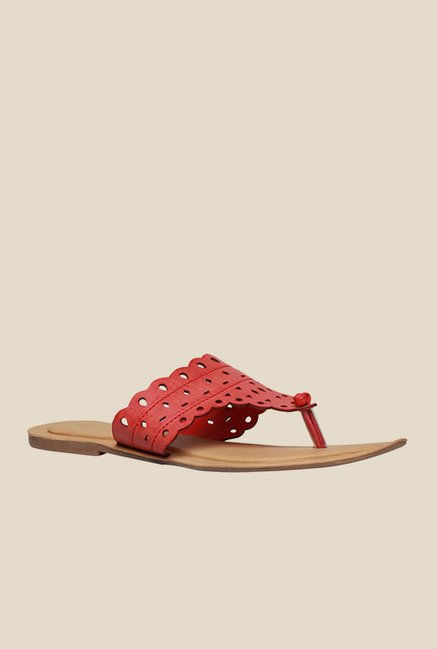Bata Lazer Red Thong Sandals
