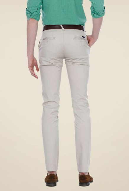 Basics Off-white Solid Mid-rise Trousers