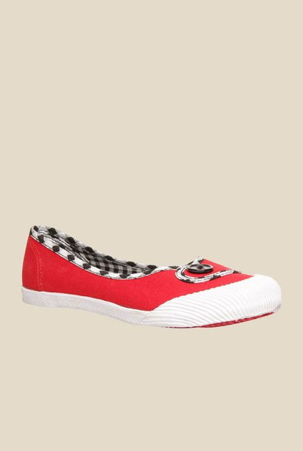 Bata Timmy Red & White Flat Ballets