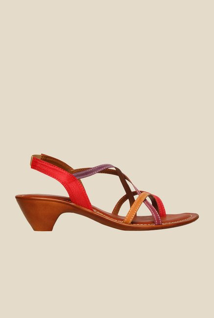 Bata Aroma Brown & Red Sling Back Sandals