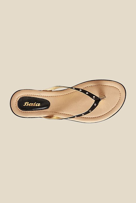 Bata Riviera Black & Golden Thong Sandals