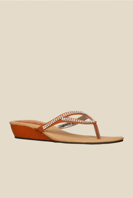 Bata Sonia Orange Thong Sandals