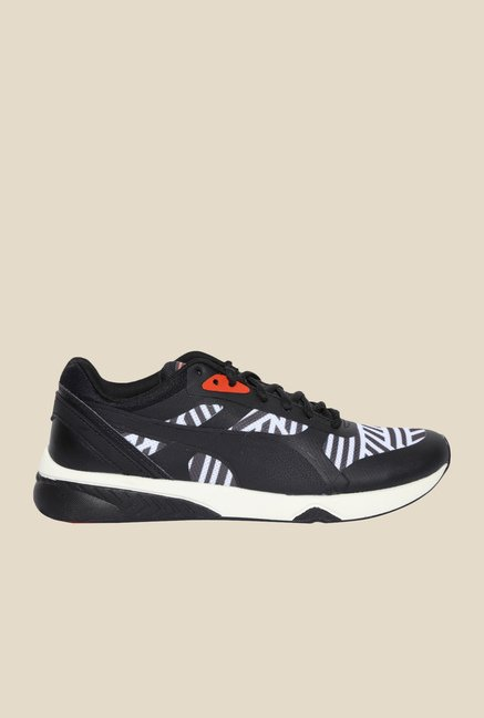 Puma 698 Ignite Stripes Black & White Sneakers