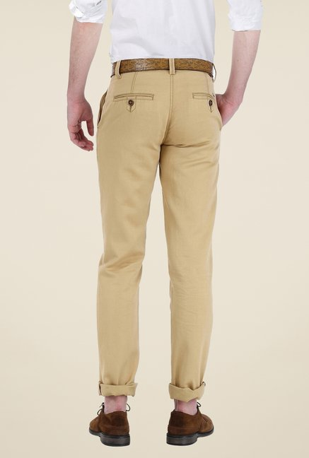 Basics Khaki Solid Trousers