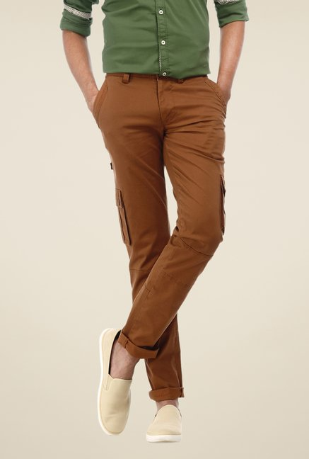 Basics Brown Solid Mid-rise Cargos