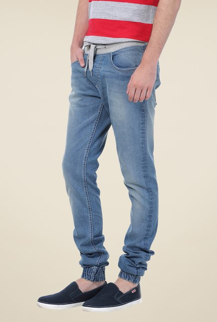 Basics Blue Lightly Washed Joggers