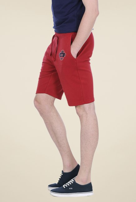 Basics Red Solid Shorts