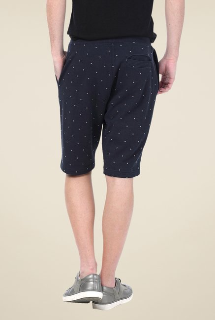 Basics Navy Printed Shorts