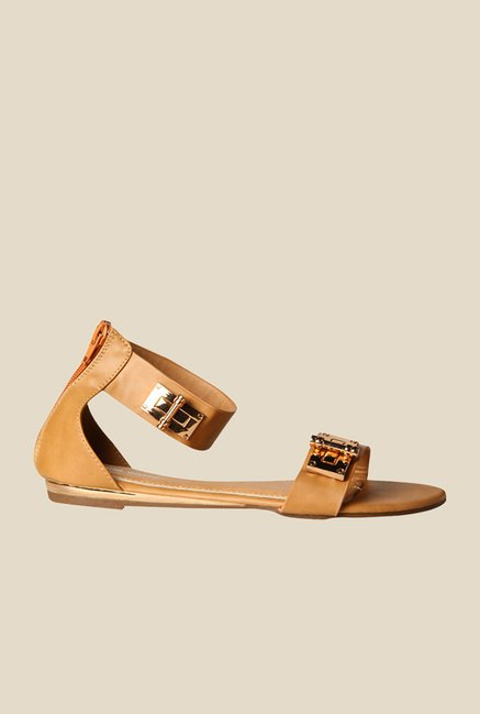 Marie Claire Erna Beige Ankle Strap Sandals