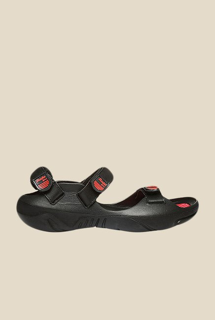 Bata New Foot Thrill Black Floater Sandals