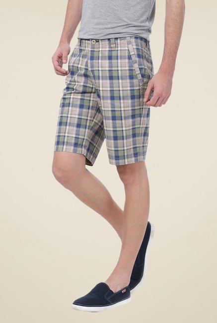 Basics Beige Checks Shorts