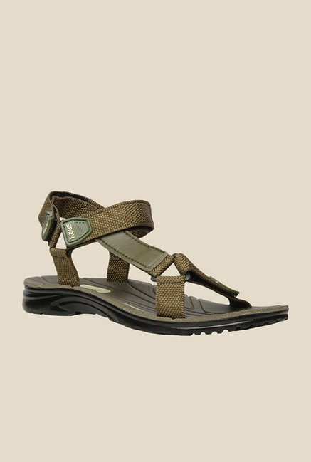 Bata Rambo Olive Green Floater Sandals