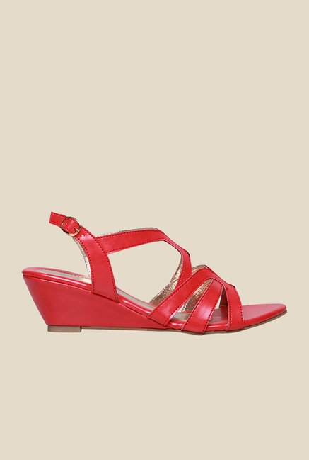 Bata Kourtney Red Cross Strap Wedges