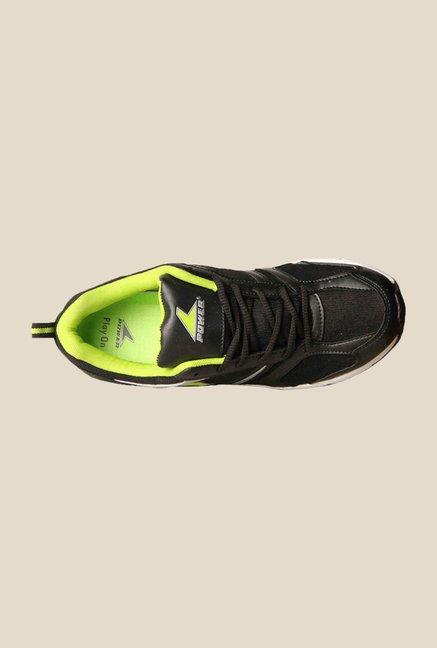 Power Stefano Black & Green Running Shoes