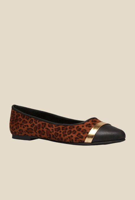 Bata Nicole Brown & Black Flat Ballets