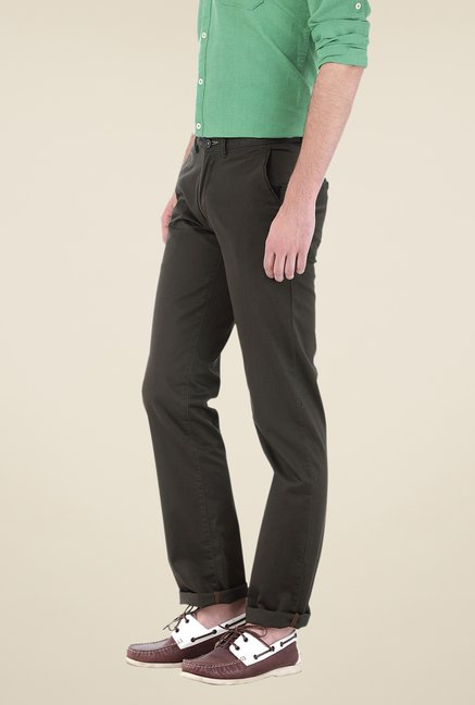 Basics Olive Solid Trousers