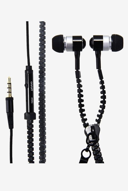 Black Zipper In the Ear Earphones (Black)
