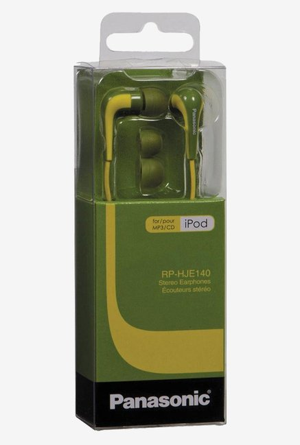 Panasonic RPHJE140G L Shape Inner Ear Earbud (Green)