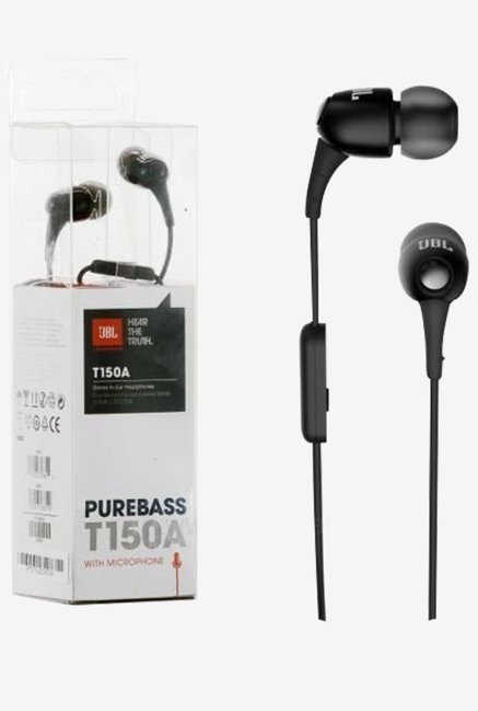 JBL T150A Stereo In The Ear Headphones With Mic (Black)
