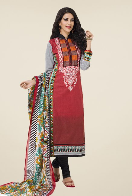 Salwar Studio Maroon & Black Floral Print Dress Material