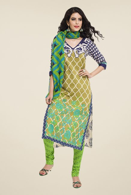 Salwar Studio Green & Blue Floral Print Dress Material