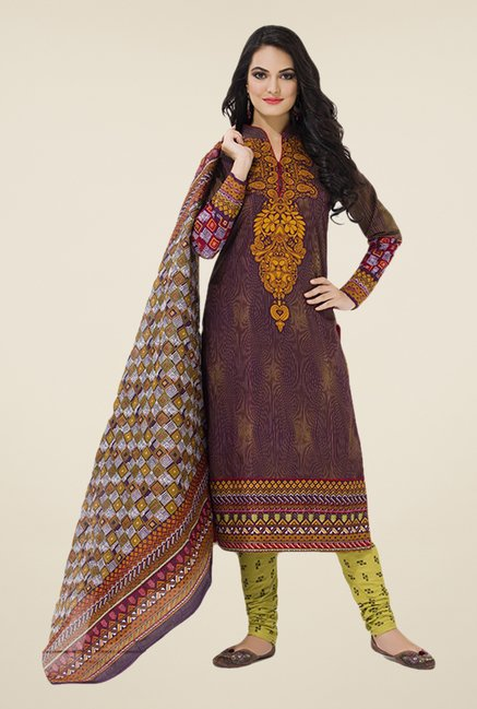 Salwar Studio Wine & Olive Printed Dress Material