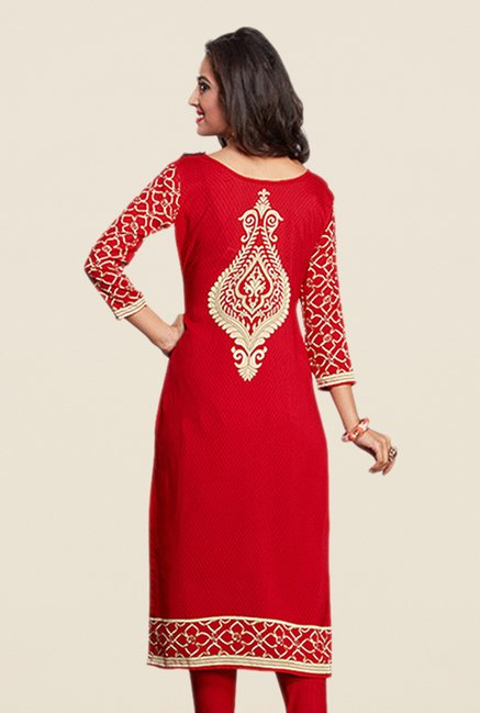 Salwar Studio Red Printed Dress Material