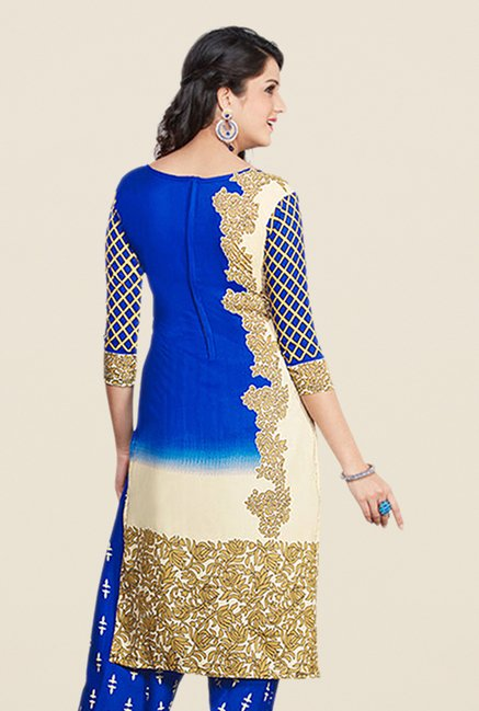 Salwar Studio Blue Printed Dress Material