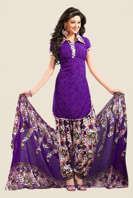 Salwar Studio Purple Floral Print Dress Material