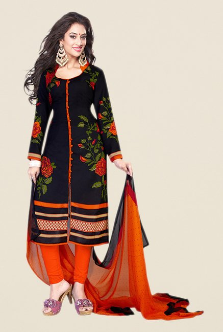 Salwar Studio Navy & Orange Floral Print Dress Material