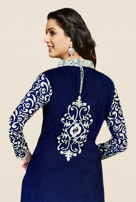 Salwar Studio Navy & Off White Printed Dress Material
