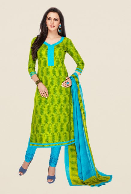 Salwar Studio Green & Aqua Paisley Print Dress Material