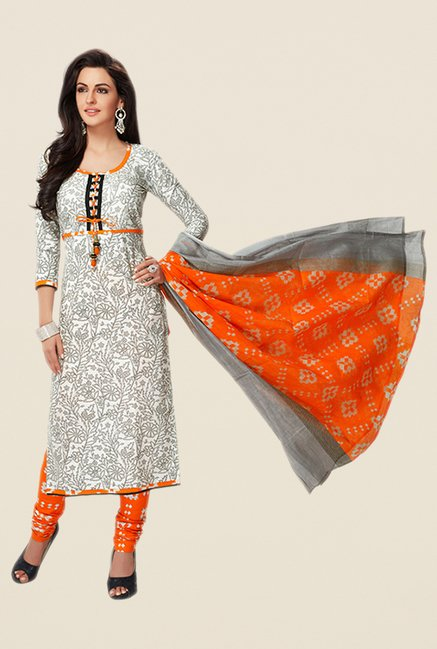 Salwar Studio Grey & Orange Floral Print Dress Material