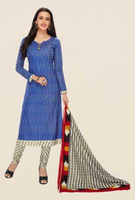 Salwar Studio Blue & Cream Printed Dress Material