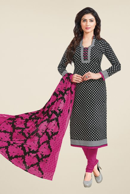 Salwar Studio Black & Magenta Printed Dress Material