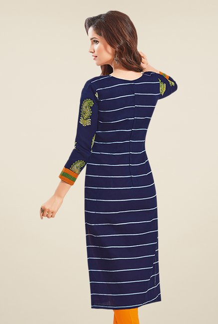 Salwar Studio Navy & Orange Paisley Print Dress Material