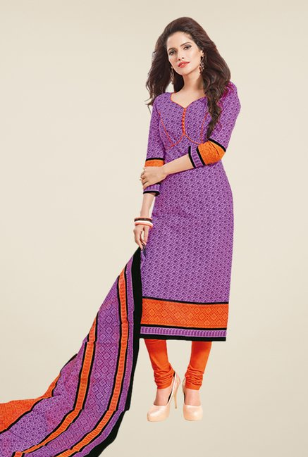 Salwar Studio Purple & Orange Printed Dress Material