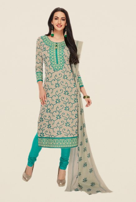 Salwar Studio Beige & Sea Green Printed Dress Material