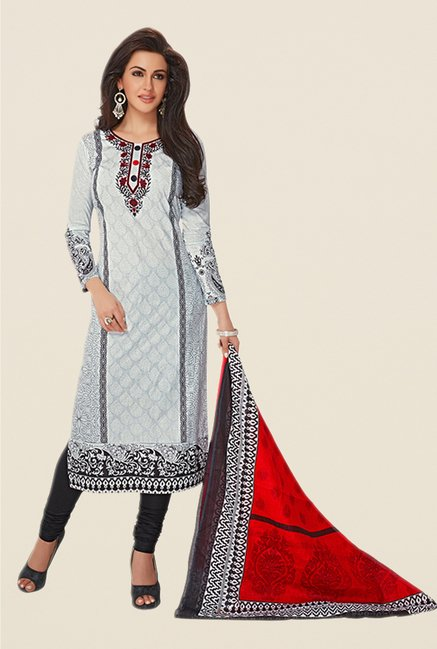 Salwar Studio Grey & Black Printed Dress Material