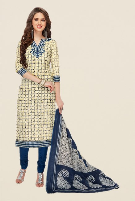 Salwar Studio Yellow & Navy Printed Dress Material