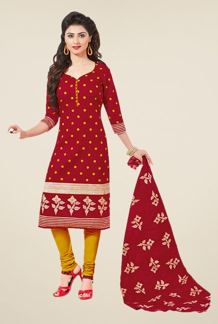 Salwar Studio Maroon & Yellow Polka Dot Dress Material