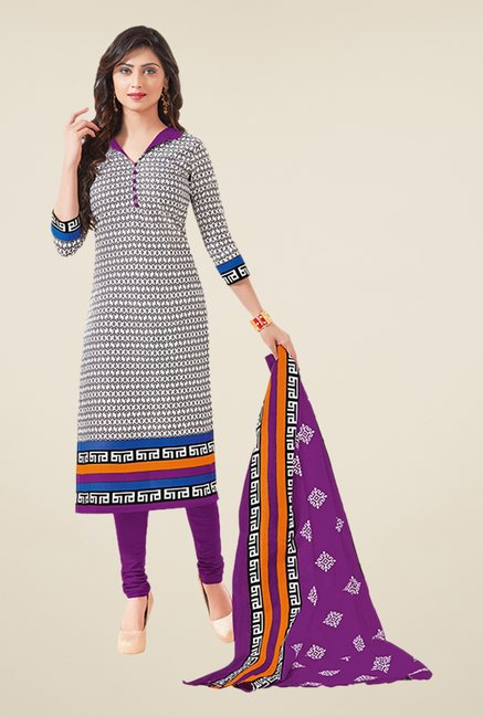 Salwar Studio White & Purple Printed Dress Material