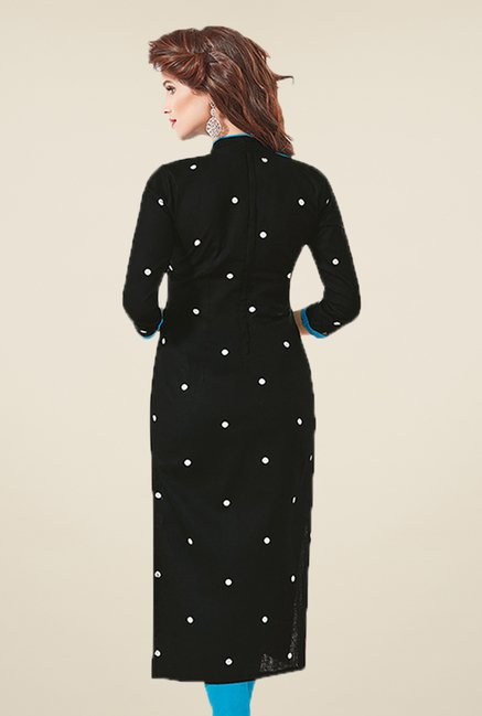 Salwar Studio Black & Blue Polka Dot Dress Material