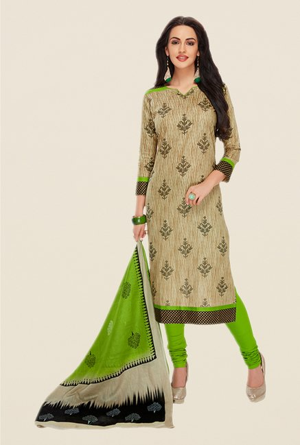 Salwar Studio Brown & Green Printed Dress Material