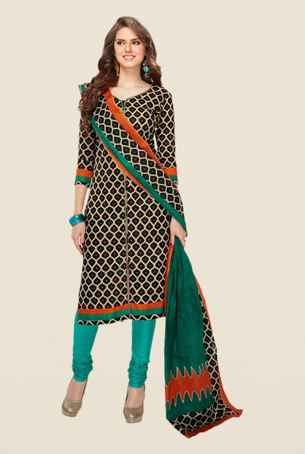 Salwar Studio Black & Sea Green Printed Dress Material
