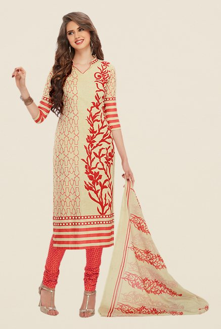 Salwar Studio Fawn & Coral Printed Dress Material