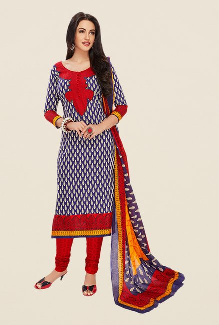 Salwar Studio Violet & Red Printed Dress Material