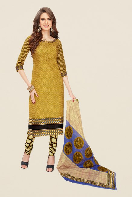 Salwar Studio Mustard Printed Dress Material
