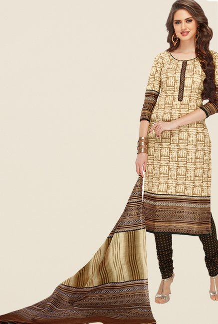 Salwar Studio Beige & Brown Printed Dress Material